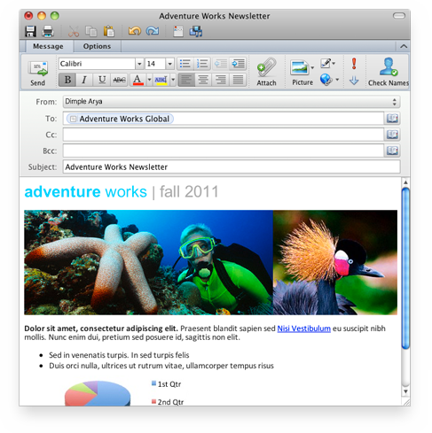 Outlook s e-mailem ve formátu RTF