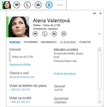 Snímek obrazovky seznamu kontaktů s vybranou ikonou karty kontaktu a zobrazenou odpovídající kartou kontaktu