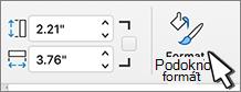 Vybrané tlačítko v podokně formát