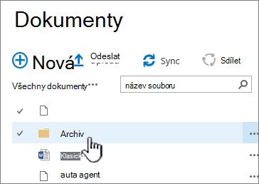 Knihovny dokumentů SharePoint 2016 se zvýrazněným složky