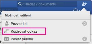 Zkopírujte odkaz pro dokument do cilpboard, klikněte na Kopírovat odkaz.