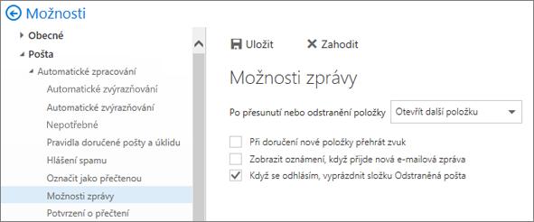 Snímek obrazovky ukazuje dialogové okno Možnosti zprávy, kde je zaškrtnuté políčko Vyprázdnit složku odstraněná pošta při odhlášení.