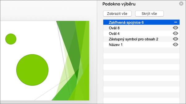 Zobrazuje funkci skrytí pro podokno výběru v Office 2016 pro Mac