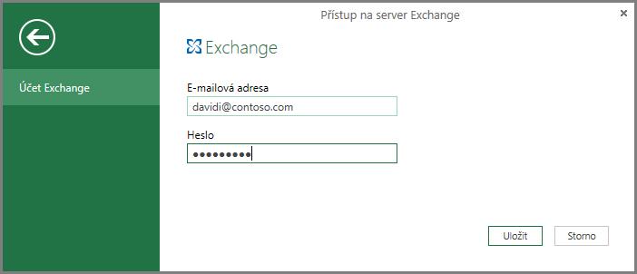 Přihlašovací údaje Exchange