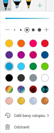Barvy a efekty rukopisu pro kreslení pomocí rukopisu v Office ve Windows Mobile