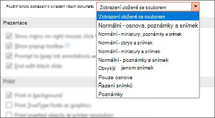 Otevře se seznam všechny dokumenty v tomto seznamu zobrazení, aby zákazník mohl vybrat výchozí zobrazení.
