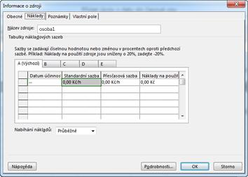 Karta Náklady v dialogovém okně Informace o zdroji
