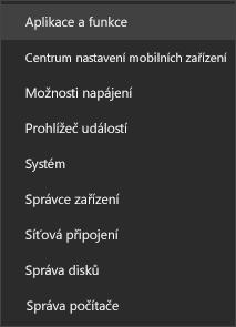 Snímek obrazovky s nabídkou Start se zobrazenými aplikacemi a funkcemi