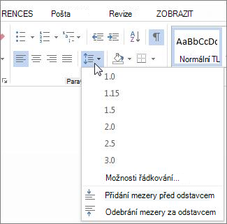 Obrazovka řádkování a vzdálenost odstavců