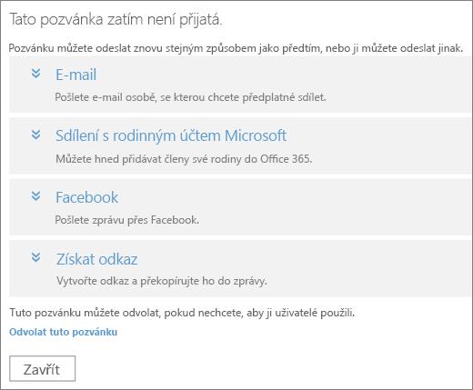 Snímek obrazovky s dialogovým oknem s pozvánkou čekající na vyřízení, které obsahuje možnosti pro opětovné odeslání odkazu e-mailem, přes rodinný účet Microsoft, Facebook nebo vlastní odkaz a odkaz pro odvolání pozvánky
