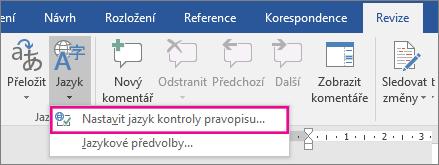 Nastavit jazyk kontroly pravopisu