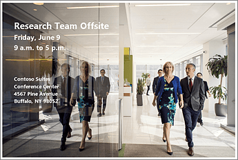 Oznámení, že bude tým pro výzkum 9. června mimo pracoviště Obrázek obsahuje fotku a adresu místa konání konference.
