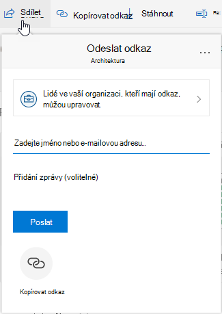 Zobrazení možnosti sdílení souboru