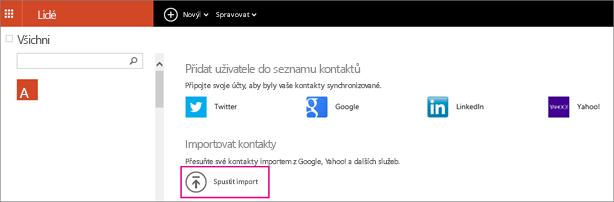 Zvolte Spustit import a vyberte, odkud chcete kontakty naimportovat.