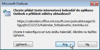 Dialogové okno obsahující všechny internetové kalendáře, které budou přidány do aplikace Outlook