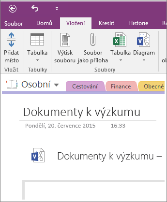 Snímek obrazovky s postupem vložení nového diagramu Visia do OneNotu 2016