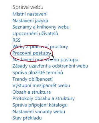 Odkaz Pracovní postupy v části Správa webu