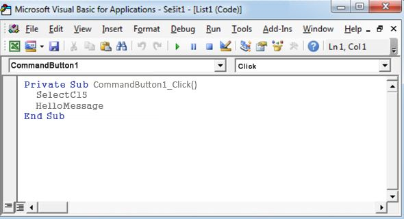 Podprocedura v programu Visual Basic Editor