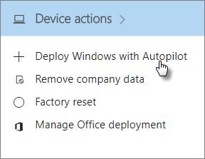 Volba nasazení Windows pomocí AutoPilota na kartě Zařízení