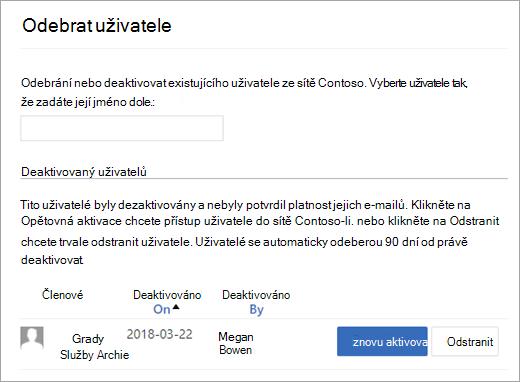 Seznam deaktivovaný uživatelů