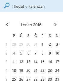 Pole pro hledání v kalendáři