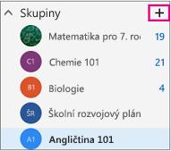 Levé navigační podokno v Outlooku na webu se zvýrazněným tlačítkem Vytvořit