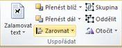 Uspořádání skupiny pro zarovnání objektů v Publisheru 2010