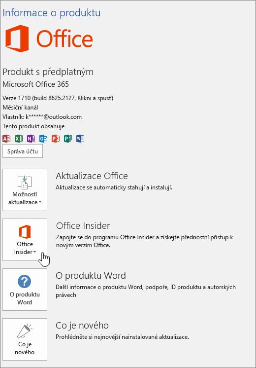 Přihlášení k Office Insider v-aplikace