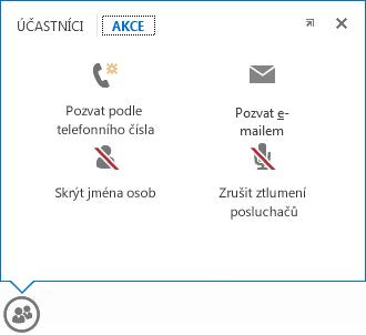 Snímek obrazovky nabídky, která se zobrazí, když umístíte ukazatel myši na tlačítko Účastníci, s vybranou kartou Akce