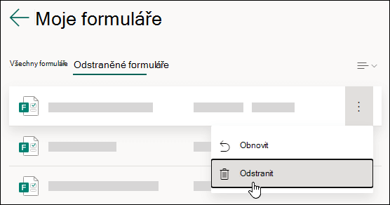 Odstranění formuláře na kartě Odstraněné formuláře v Microsoft Forms