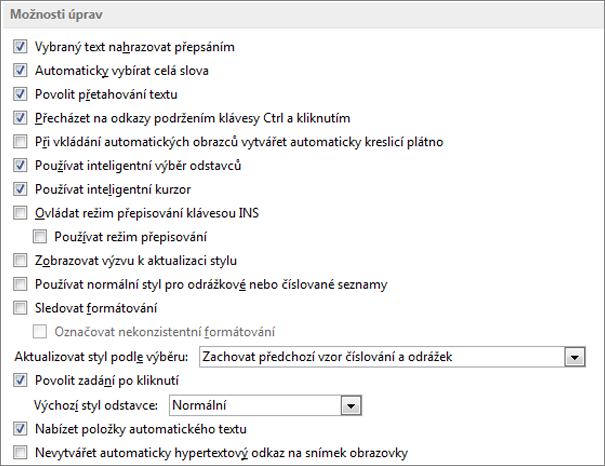 Word 2013 editing options