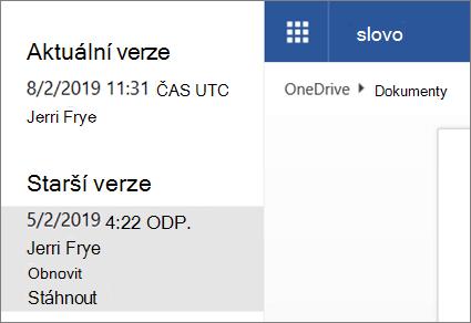 Snímek obrazovky s starších verzí dokumentu v historie verzí na Onedrivu při přihlášení pod svým účtem Microsoft
