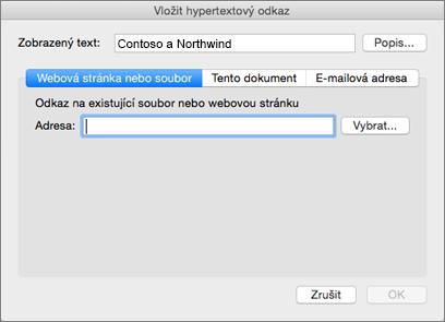 Možnosti pro vložení hypertextového odkazu na webovou stránku, e-mailovou adresu nebo dokument