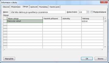 Karta Zdroj v dialogovém okně Informace o úkolu