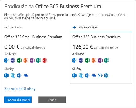 Podokno obnovení ukazující váš současný plán Office 365 a doporučený nový plán.
