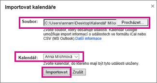 Kalendář Google – dialogové okno import kalendáře