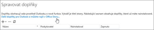 Část stránky Spravovat doplňky, která obsahuje seznam nainstalovaných doplňků a také odkaz pro hledání dalších doplňků pro Outlook v Office Storu