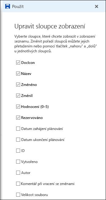 Zobrazení pro úpravu seznamu knihovny dokumentů