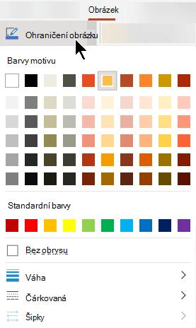 Nabídka ohraničení obrázku obsahuje možnosti pro barvy, tloušťku a styl čáry.