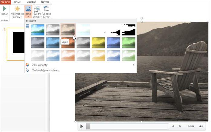 Změna barvy videozáběrů