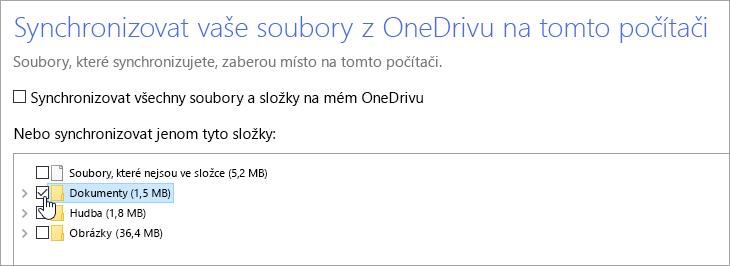 Snímek obrazovky s dialogovým oknem Synchronizovat vaše soubory z OneDrivu na tomto počítači