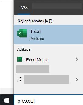 Snímek obrazovky s hledáním aplikace ve Windows 10 hledání
