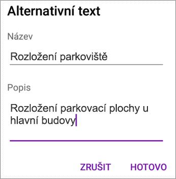 Přidání alternativního textu k obrázkům ve OneNotu pro Android