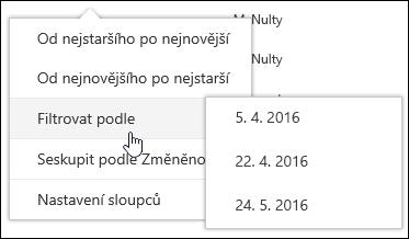 Filtrování zobrazení knihovny dokumentů v Office 365