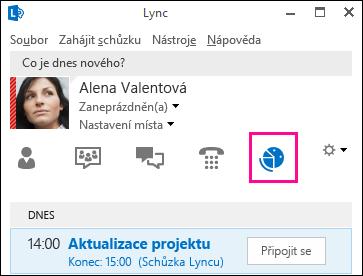 Snímek obrazovky karty zobrazení schůzek