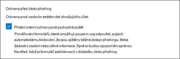Nastavení správce Microsoft Forms pro ochranu před útoky phishing