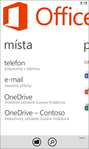 Místa v aplikaci Windows Phone Office