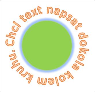 Text zakřivený okolo kruhového obrazce