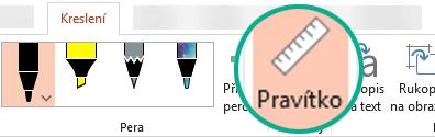 V PowerPointu 2016 najdete vzorník Pravítko na pásu karet na kartě Kreslení.