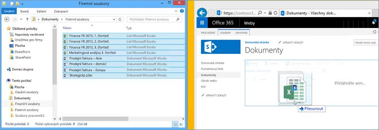 Příklad souboru nahraného do knihovny dokumentů na týmovém webu